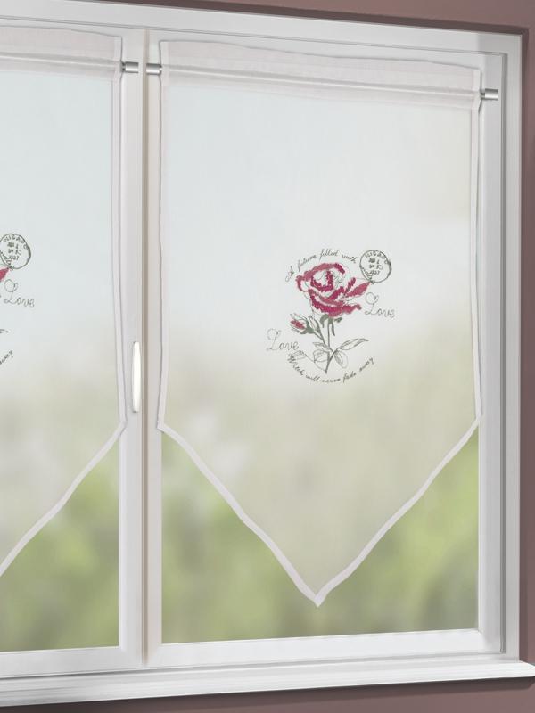 scheibenh nger scheibengardine rose im romantischen landhausstil gardinen outlet. Black Bedroom Furniture Sets. Home Design Ideas