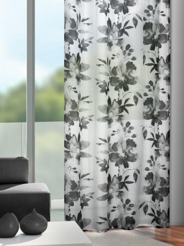 gardinen mit blumenmuster grau schwarz weiss gardinen outlet. Black Bedroom Furniture Sets. Home Design Ideas