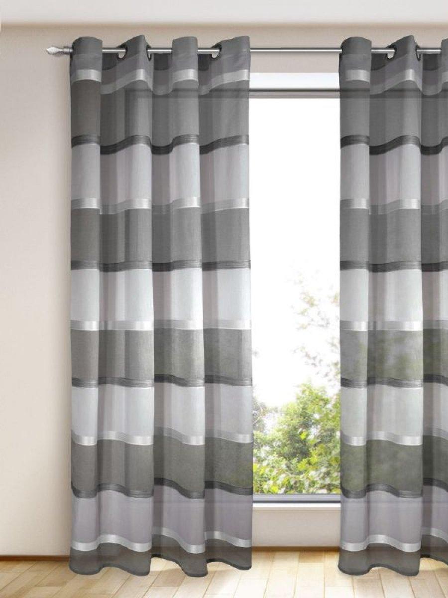 senschal grau silber modern querstreifen gardinen outlet. Black Bedroom Furniture Sets. Home Design Ideas