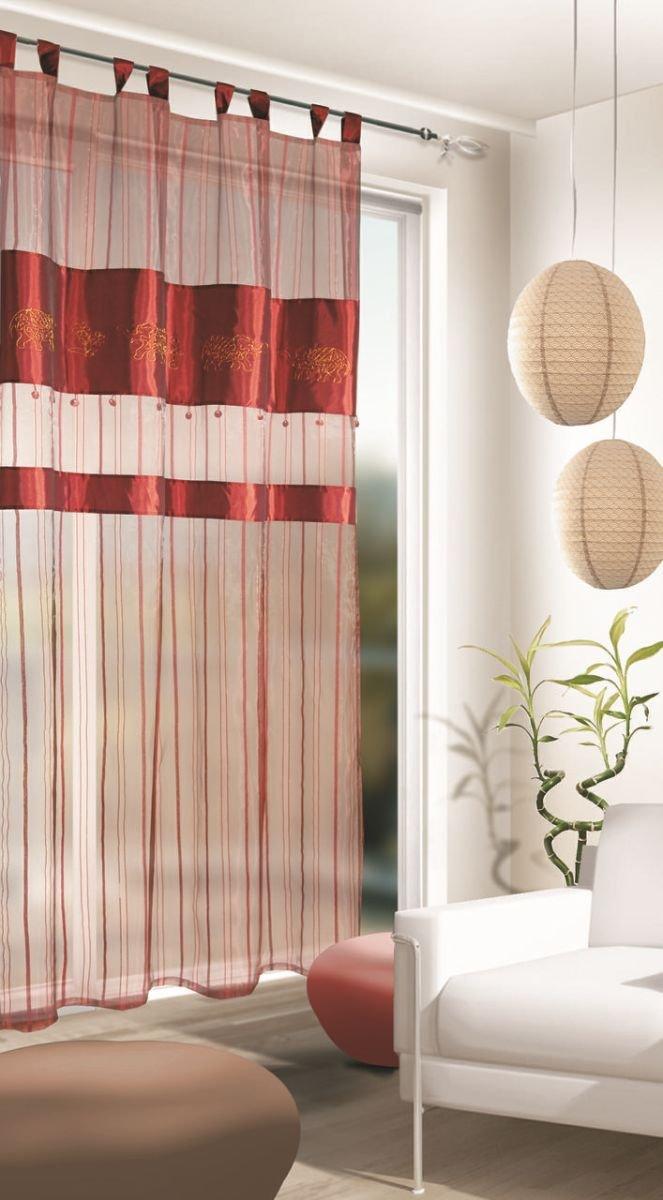 bestickter schlaufenschal mit orientalischen hauch gardinen outlet. Black Bedroom Furniture Sets. Home Design Ideas